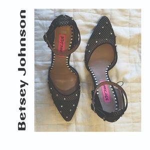 NWOT Betsey Johnson Rhinestone and Mesh Heels